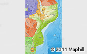 Physical Map of Mozambique, political shades outside, shaded relief sea