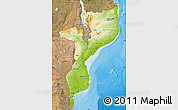 Physical Map of Mozambique, satellite outside, shaded relief sea