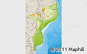 Physical Map of Mozambique, shaded relief outside