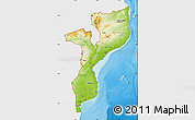 Physical Map of Mozambique, single color outside