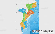 Political Map of Mozambique, single color outside
