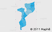 Political Shades Map of Mozambique, cropped outside