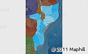 Political Shades Map of Mozambique, darken