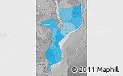 Political Shades Map of Mozambique, desaturated