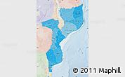 Political Shades Map of Mozambique, lighten