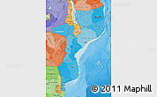 Political Shades Map of Mozambique