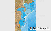 Political Shades Map of Mozambique, satellite outside, bathymetry sea
