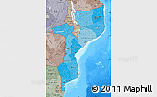 Political Shades Map of Mozambique, semi-desaturated, land only
