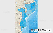 Political Shades Map of Mozambique, shaded relief outside, bathymetry sea