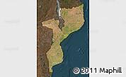 Satellite Map of Mozambique, darken