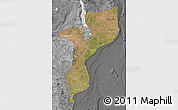 Satellite Map of Mozambique, desaturated