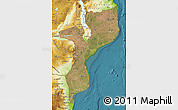 Satellite Map of Mozambique, physical outside, satellite sea