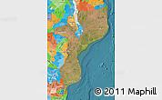 Satellite Map of Mozambique, political outside, satellite sea