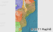 Satellite Map of Mozambique, political shades outside, satellite sea