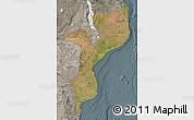 Satellite Map of Mozambique, semi-desaturated