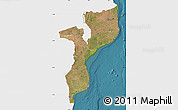 Satellite Map of Mozambique, single color outside