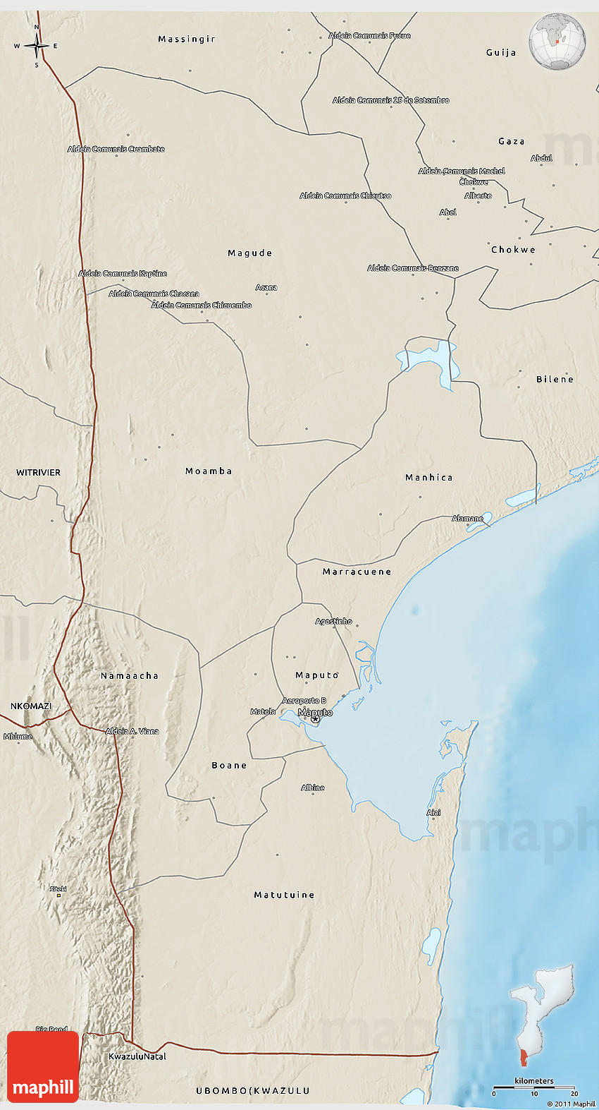 shaded relief 3d map of maputo