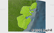 Physical 3D Map of Mossuril, darken