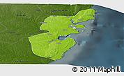 Physical Panoramic Map of Mossuril, darken