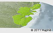 Physical Panoramic Map of Mossuril, semi-desaturated