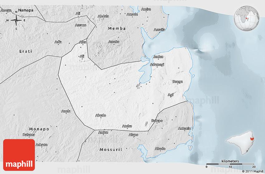 Silver Style 3D Map of Nacala Velha