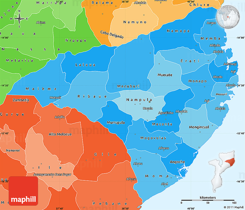 Political Shades Simple Map of Nampula