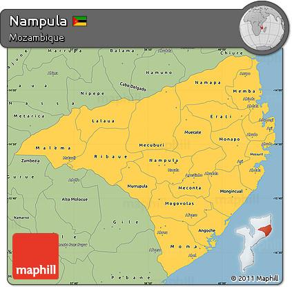 Free Savanna Style Simple Map of Nampula
