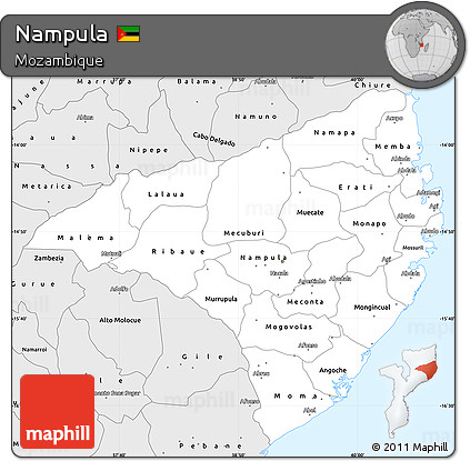 Free Silver Style Simple Map of Nampula