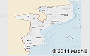 Classic Style Panoramic Map of Mozambique, single color outside