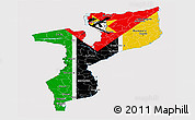 Flag Panoramic Map of Mozambique, flag aligned to the middle