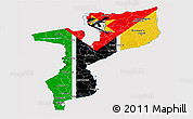Flag Panoramic Map of Mozambique, flag rotated