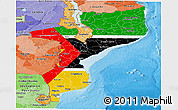 Flag Panoramic Map of Mozambique, political shades outside
