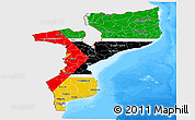 Flag Panoramic Map of Mozambique, single color outside, bathymetry sea