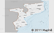 Gray Panoramic Map of Mozambique, single color outside