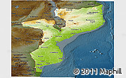 Physical Panoramic Map of Mozambique, darken