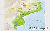 Physical Panoramic Map of Mozambique, lighten