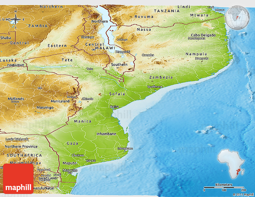 Physical Panoramic Map of Mozambique