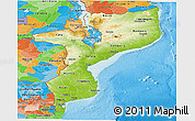 Physical Panoramic Map of Mozambique, political outside, shaded relief sea