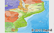 Physical Panoramic Map of Mozambique, political shades outside, shaded relief sea