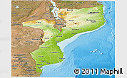 Physical Panoramic Map of Mozambique, satellite outside, shaded relief sea