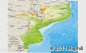 Physical Panoramic Map of Mozambique, shaded relief outside