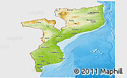 Physical Panoramic Map of Mozambique, single color outside