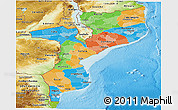 Political Panoramic Map of Mozambique, physical outside