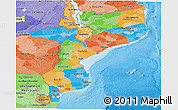 Political Panoramic Map of Mozambique, political shades outside