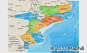 Political Panoramic Map of Mozambique, shaded relief outside, bathymetry sea