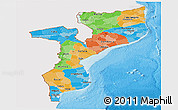 Political Panoramic Map of Mozambique, single color outside