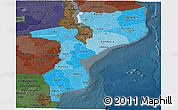 Political Shades Panoramic Map of Mozambique, darken