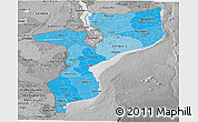 Political Shades Panoramic Map of Mozambique, desaturated