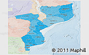 Political Shades Panoramic Map of Mozambique, lighten