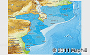 Political Shades Panoramic Map of Mozambique, physical outside